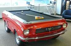 Muscle Car Pool Tables - This Ford Mustang Gets Its Top Cut Off and Turned into a Pool Table