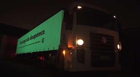Glow-In-The-Dark Trucks - A Phosphorescent Truck Promotes Volkswagen's Volksnet Truck Tracker