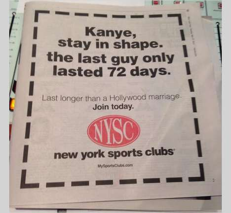 Snarky Celebrity Marriage Ads - New York Sports Clubs Makes Fun of the Recent Kimye Wedding