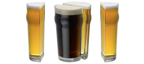Dissected Beer Holders - The Half Pint Glass Splits One's Alcohol Portions in Half