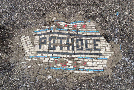Urban Pothole Art - These Mini-Mosaics Fill the Void Left by Potholes