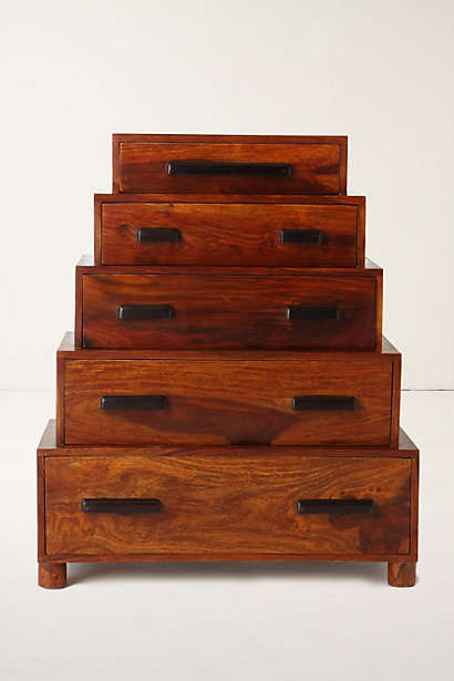 Stacked Stair Storage - The Brigitta Dresser from Anthropologie Features a Rustic Design