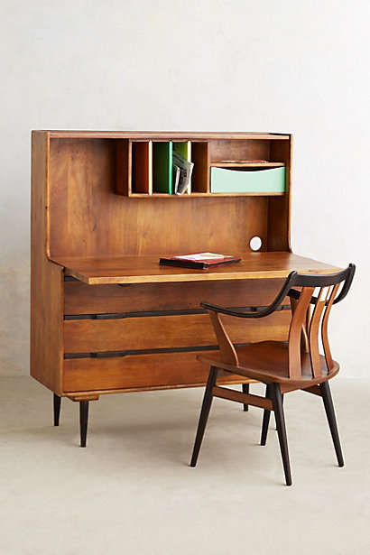 Retro-Modern Workspace Modules - The Retractable Writing Desk From Anthropologie Has Multiple Uses