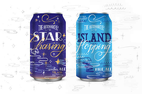 Whimsical Beer Can Branding - The Hitchhiker Beer Can Designs Are Inspired by World Travellers
