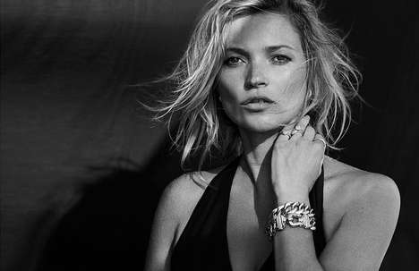 Greyscale Jewelry Ads - The David Yurman Fall 2014 Campaign Stars Kate Moss