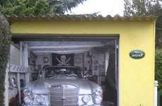 Deceptive Door Decals - This Garage Door Mural Makes It Look Like You Parked a Mercedes Inside