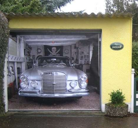 Deceptive Door Decals - This Garage Door Mural Makes It Look Like You Parked a Mercedes Inside