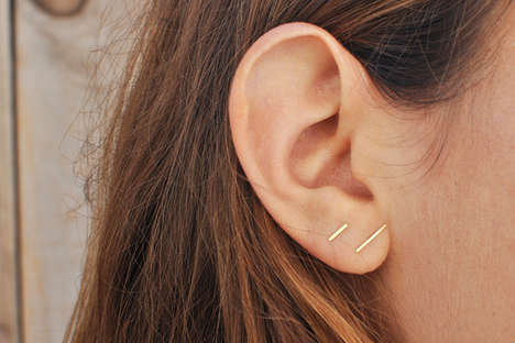 Linear Minimalist Earrings - Kathleen Whitaker's Modern Jewelry Could Stand the Test of Time