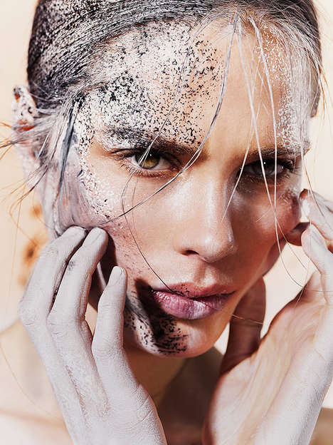 Literally Glistening Glamor Editorials - The Elle Denmark Photoshoot Features Bold Make Up