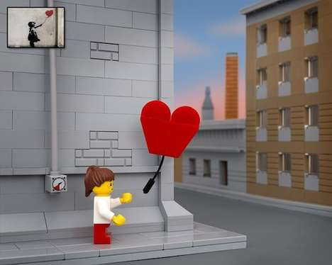 Brick Toy Graffiti Parodies - Jeff Friesen Recreates Renowned Banksy Pieces as LEGO Street Art