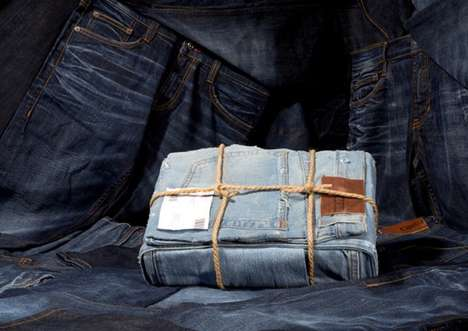 Denim Product Packaging - The Latest Package Designs for MUSTANG Jeans Come Covered in Denim