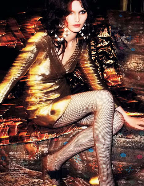 Dashing Disco Editorials - The Vogue Japan Darkness Shines with Glamour Photoshoot is 1970s