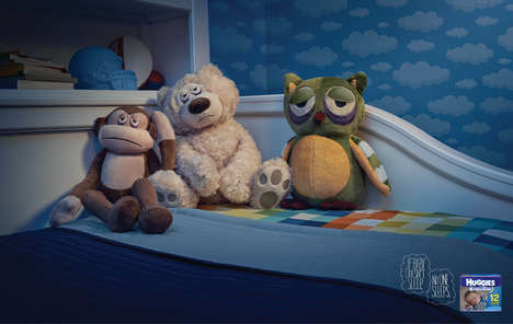 Exhausted Plushies Ads - The Huggies Overnight Diaper Campaign is Adorably Surreal