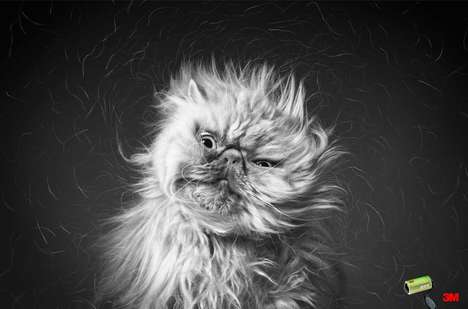 Shedding Pet Photography - The Ad Images for the 3M Lint Rollers Show Pets Shaking Their Hair Out