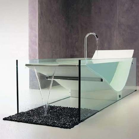 Chaise Lounge Bathtubs - This Modern Bathtub from Moma Design Features Two Elegant Glass Panels