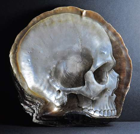 Pearl Skull Sculptures - The Mother of Pearl Skull Carvings by Gregory Halili are Mysterious