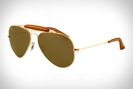 Deer Leather Eyewear - The Ray-Ban Outdoorsman Craft Sunglasses are Accented with Leather