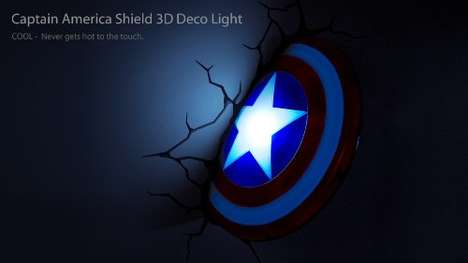 Deceptive Superhero Lighting - This Captain America Nightlight Makes Your Wall Appear Cracked