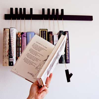 Suspended Book Shelving - The Agustav Book Rack is Minimalist and Multifunctional
