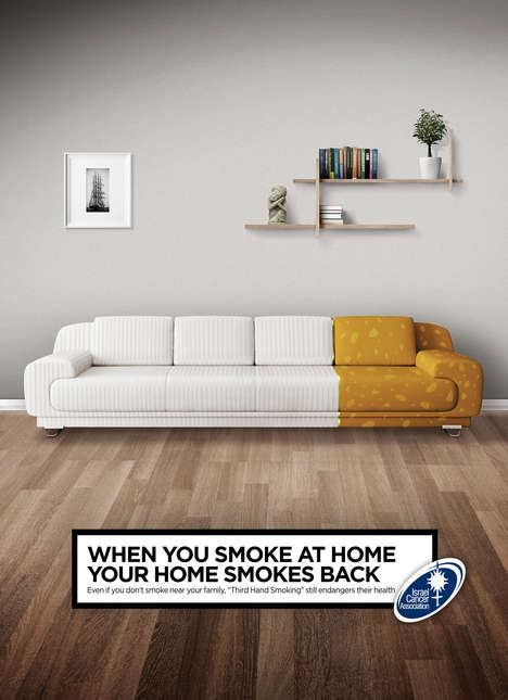 Cigarette Couch Ads - The Israel Cancer Association Campaign Warns Against Third Hand Smoking