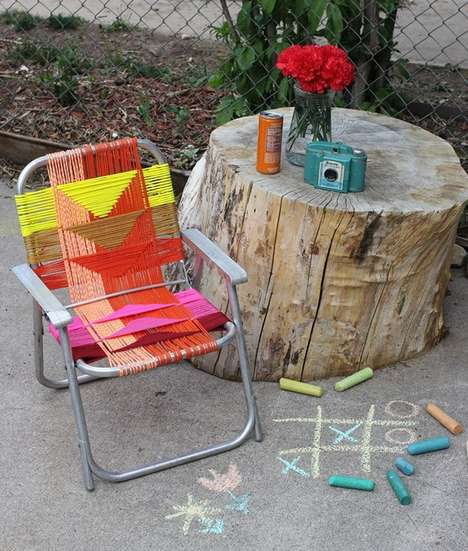 Tribal Lawn Chairs - The Latest 'A Beautiful Mess' DIY Involves an Aluminum Lawn Chair