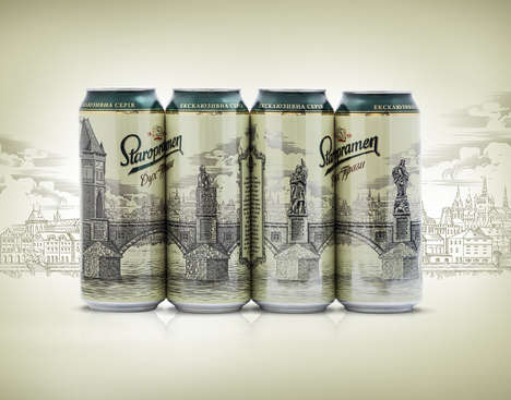 Cityscape Beer Cans - Together, Four Staropramen Lager Beer Can Designs Reveal a Bridge
