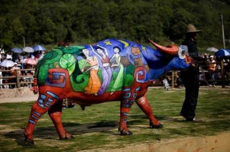 Painted Animal Competitions - International Buffalo Bodypainting Competition is Vibrantly Unusual