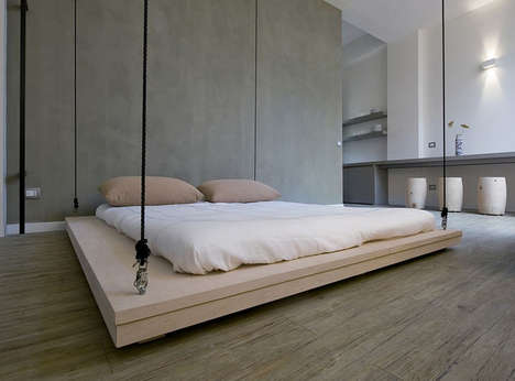 Suspended Space-Saving Sleepers - The Space is Luxury Bed is Raised to the Ceiling When Not Used