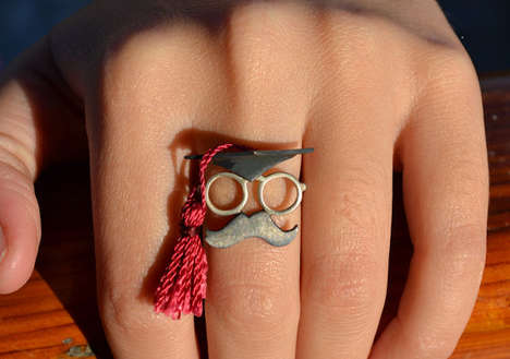 Moustache Graduation Rings - These Graduation Rings Have an Adorable Moustache Face
