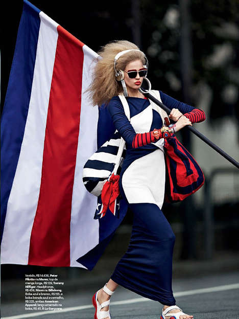 Eccentric Flag Bearer Editorials - The Making Flags Fashion Story for Vogue Brazil is 80s Inspired