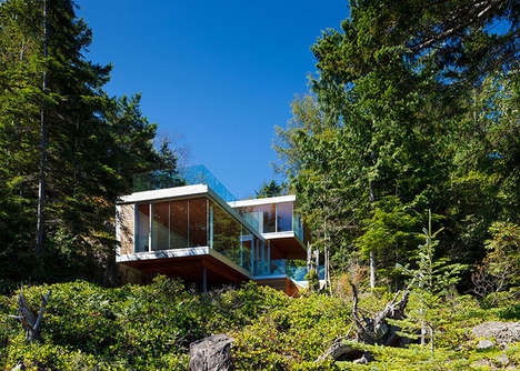 Catilevered Cove Homes - The Gambier Island House Features a Private View