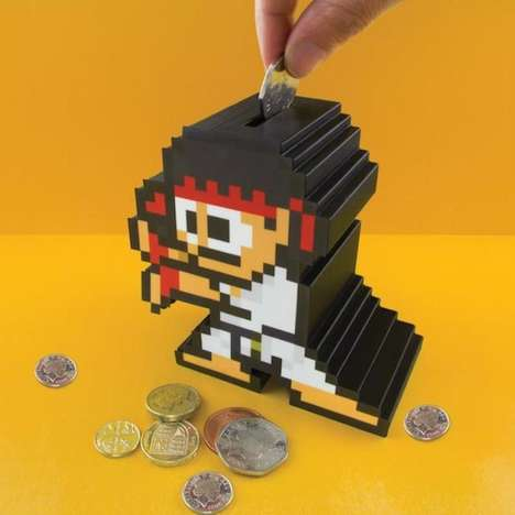 Pixelated Gamer Piggy Banks - The Street Fighter Ryu Money Box Keeps People