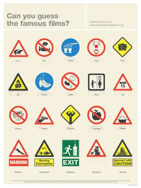 Cinematic Signage Infographics - This Infographic Turns Famous Films into Safety Signs