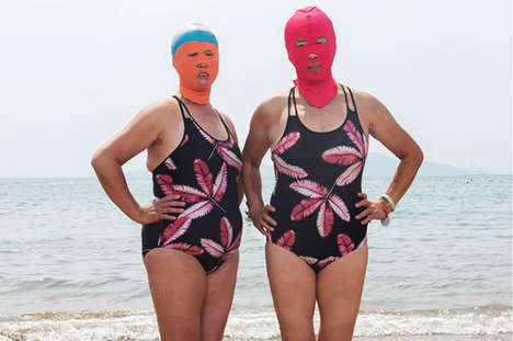 Bizarre Face-Kint Portraits - Beach by Peng Yangjun Captures Strangely Masked Chinese Women