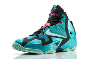 The Nike LEBRON 11 South Beach Shoes Feature Shades of Teal and Pink