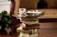 Literature Loving Tables - This Glass-Topped Sculptural Table Pays Homage to Your Inner Bookworm