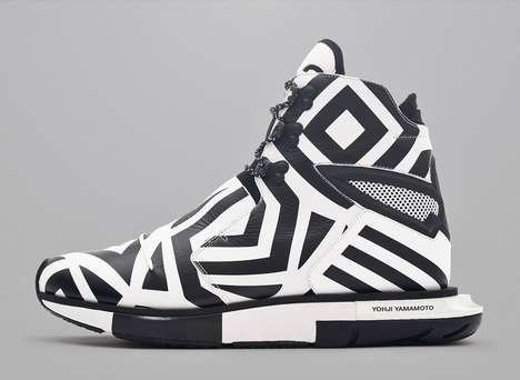 Funky Monochromatic Footwear - The Y-3 Hayex High Zebra Shoe is Boldly Black and White
