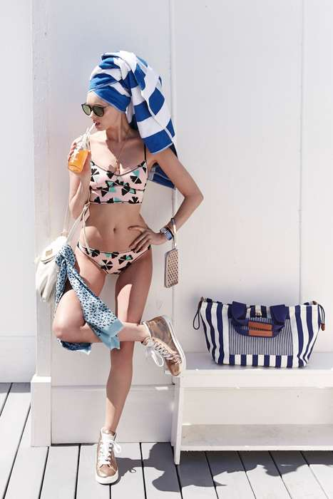 Retro Poolside Lookbooks - Elsa Hosk Stars in Marc by Marc Jacobs 2014 Swimsuits for Shopbop Shoot