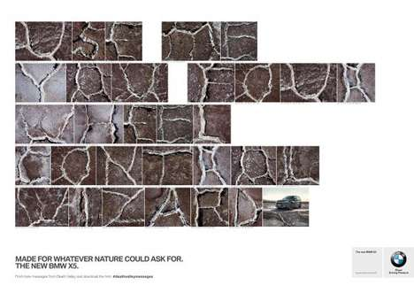 Alphabetic Road Auto Ads - These BMW X5 Ads Use Death Valley Roads to Spell Out Messages