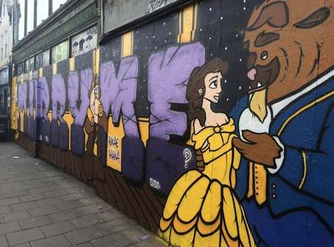 Cinematic Graffiti Proposals - Henry Barnes Proposed to His Girlfriend With Beauty and the Beast Art