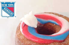 Patriotic Hockey Donuts - This Custom Cronut Celebrates the New York Rangers in the Playoffs