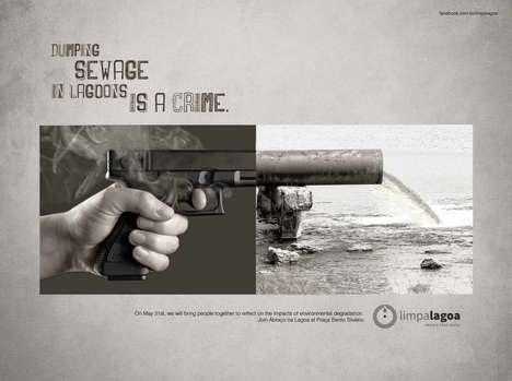 Crime Comparing Ads - A Gun-Toting Brazilian Ad Warns People About Dumping Sewage in Lagoons