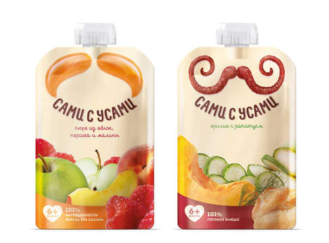 Mustachioed Baby Food Branding - Baby Food Pouch Packets for Sami-s-Usami Feature Wacky Facial Hair
