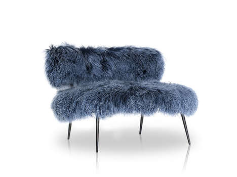 Mongolian Sheep Fur Seating - Nepal by Paola Navone is Covered in Shaggy Faux Fur