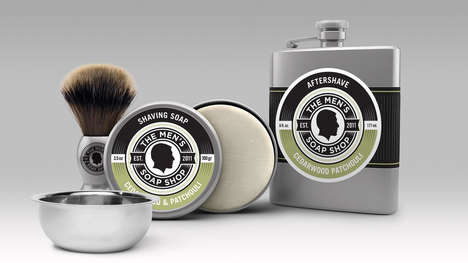 Vintage Flask-Inpired Kits - The Men's Soap Shop Skincare and Shaving Kit is Sleek and All-Natural