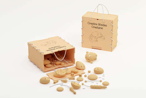 Modular Creature Toys - The Creative Wooden Creature Wooden Toy Kit Makes Real & Imagined Animals