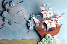 3D Storytelling Papercrafts - These Paper Images are Layered Together to Create Vivid Storyboards