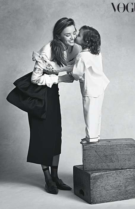 Chic Mother-Son Editorials - The Vogue Australia July 2014 Cover Shoot Stars Miranda Kerr