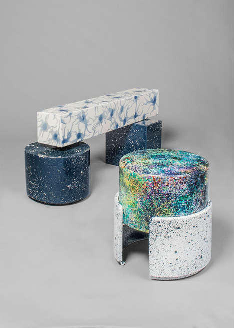 Cosmic Leather Furniture - The Never Too Much Collection Looks Splattered with Paint