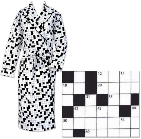 Puzzle-Loving Pajamas - This Cotton Flannel Robe Features a Black and White Crossword Design